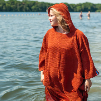 zeemeermantel® brick orange omkleed poncho