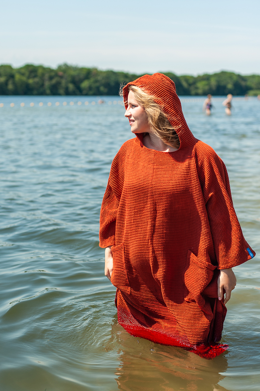 zeemeermantel® brick orange omkleed poncho