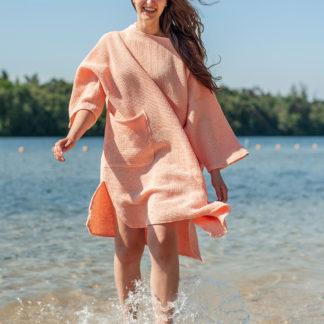 zeemeermantel® salmon pink omkleed poncho