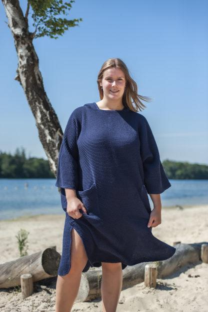 zeemeermantel® navy blue omkleed poncho