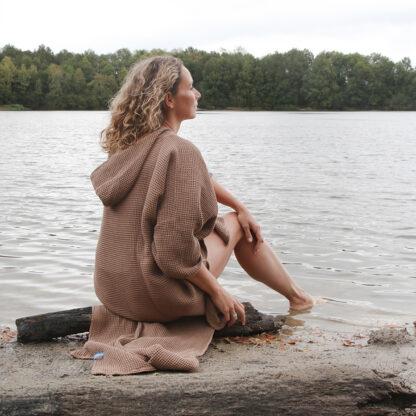 zeemeermantel® camel beige omkleed poncho