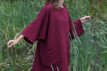 zeemeermantel® bordeaux red omkleed poncho